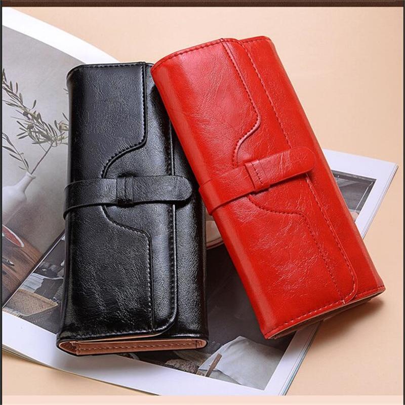 Latest Women Wallet Leather Retro Female Purse Long Coin Pocket Purse Hasp Clutch Wallet Card Holders Wallets Lady Luxury Purses