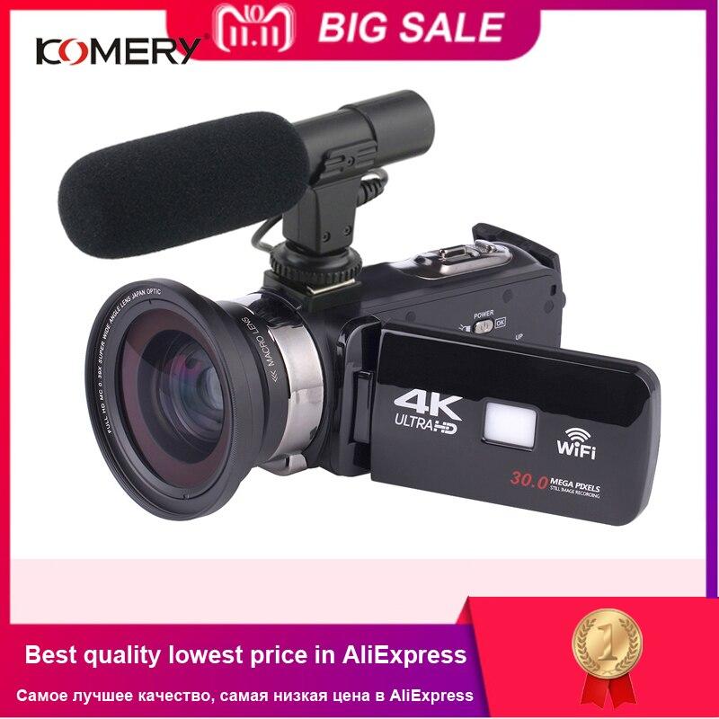 KOMERY 4 K cámara de vídeo de videocámara Wifi visión nocturna de 3,0 pulgadas de pantalla táctil LCD Time-lapse cámara de fotografía Fotografica con Micr