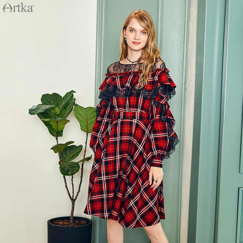 ARTKA 2019 осенние новые женские платья винтажное клетчатое платье Элегантное кружевное платье с оборками платье с декоративной отделкой для женщин LA10484Q