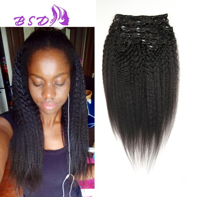 Clip En Extensiones de Cabello Humano Natural Rizado Grueso Pelo Brasileño Recto Rizado Afro Kinky Clip Recto En la Extensión Del Pelo Suave