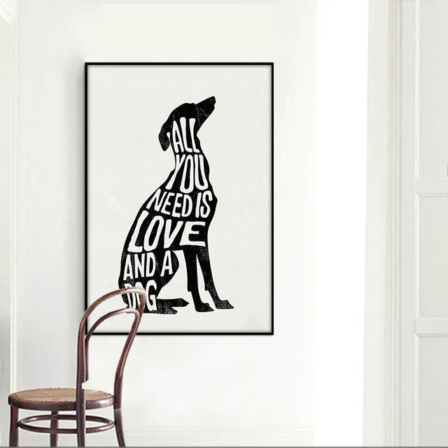 Abstract Dog Geometric Black And White Canvas Posters Prints Wall Pictures Nordic Living Room Home Decor Paintings Custom Gifts