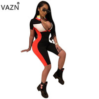 VAZN Hot Fashion Design 2018 Casual Rompers Short Sleeve Summer Playsuit Overalls For Women F8071