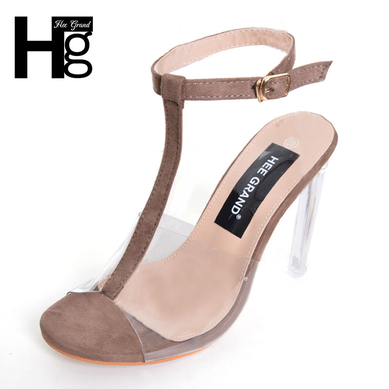 HEE GRAND Transparent Slingback Sandals Shoes Woman Platform High Heels Fashion Summer Gladiator Sandals Size 35-40 WXG331 hee grand gold silver high heels 2017 summer gladiator sandals sexy platform shoes woman casual shoes size 35 43 xwz4075