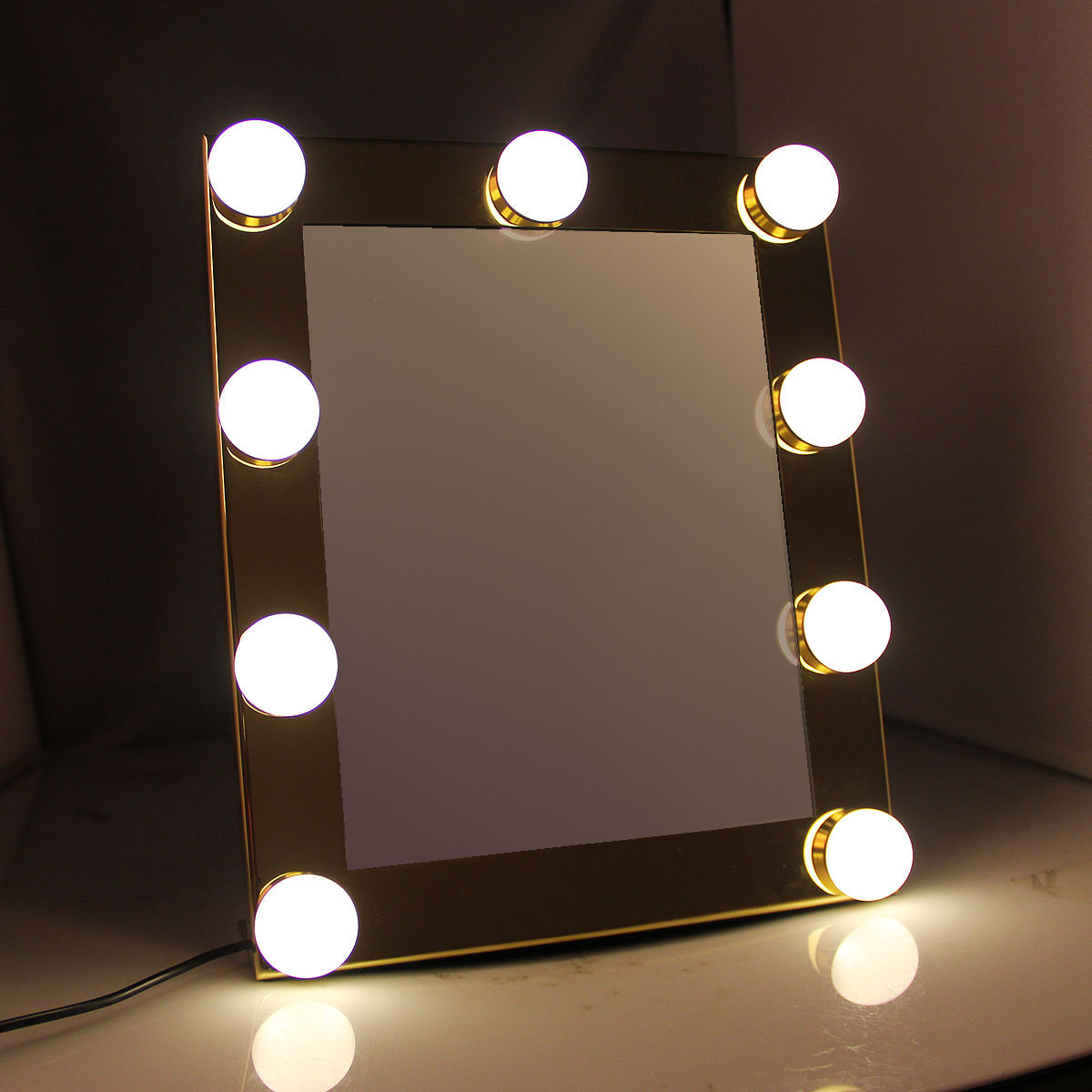 Hollywood Lighted Vanity Makeup Mirror Tabletop Dimmable 9 Led Bulb Lights Touch Control LED Makeup Mirror Beauty Tool 2018 dimmable hollywood makeup vanity mirror with light large lighted tabletop cosmetic mirror with 9pcs touch control led bulbs