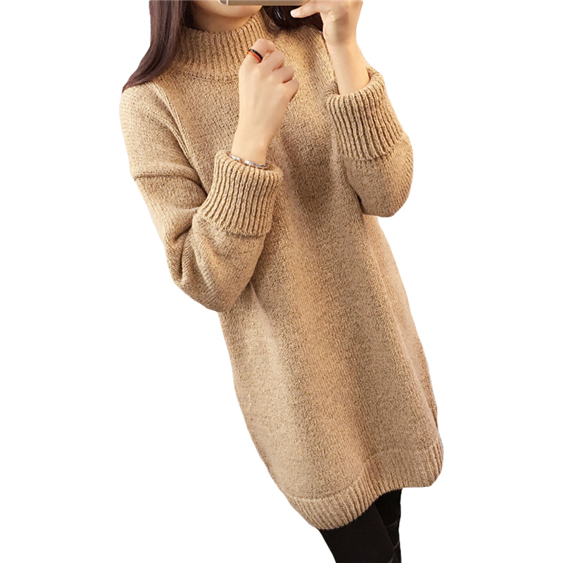 Beige Oversized Trui.Women Sweater Dress Oversized Long Sleeve Plain Knitted Sweater New