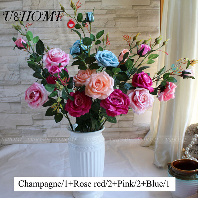 Aliexpress buy 3 heads artificial rose fake silk flowers high 3 heads artificial rose fake silk flowers high quality with stems for home wedding party decoration mightylinksfo