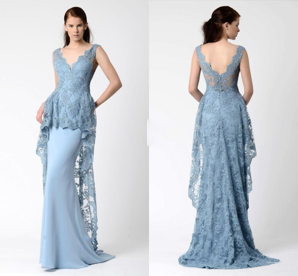 Light Silver Lace Evening Dresses 2016 Modest V Neck Mermaid Satin ...