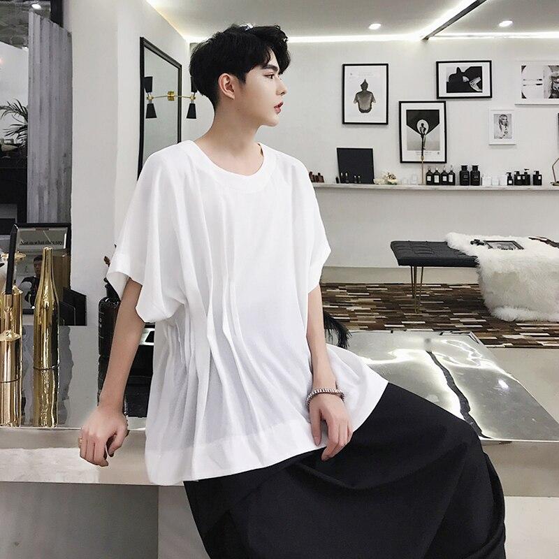 2019One taille!! niche d'été montrer nouvelle ligne irrégulière pli design col rond lâche à manches courtes T-shirt tide mâle art blanc t.