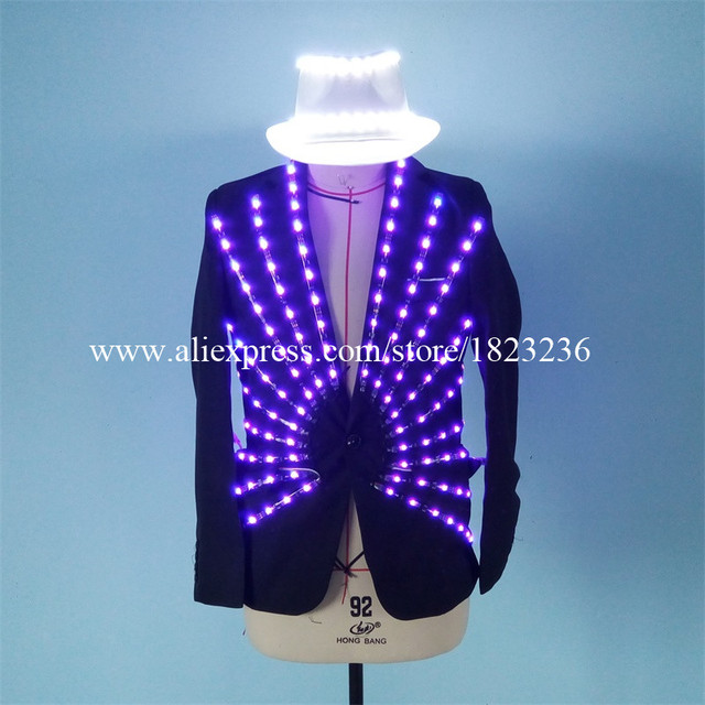 Newest Led Luminous Ballroom Costume LED Light Up Growing Stage performance DJ Singer Dancer Clothes For Nightclub Bar KTV