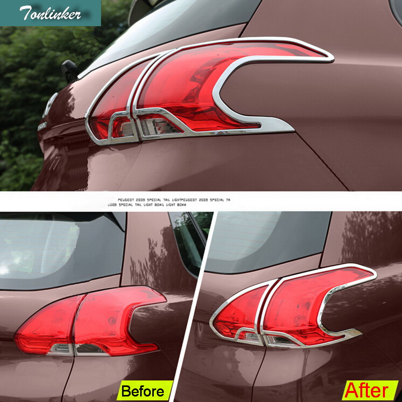 aa741fde99 Tonlinker 4 sztuk Car Styling ABS Chrome Tylne Tylne Światła Light Box  Skrzynki Pokrywa Naklejki dla Peugeot 2008 2014- 15 akcesoria