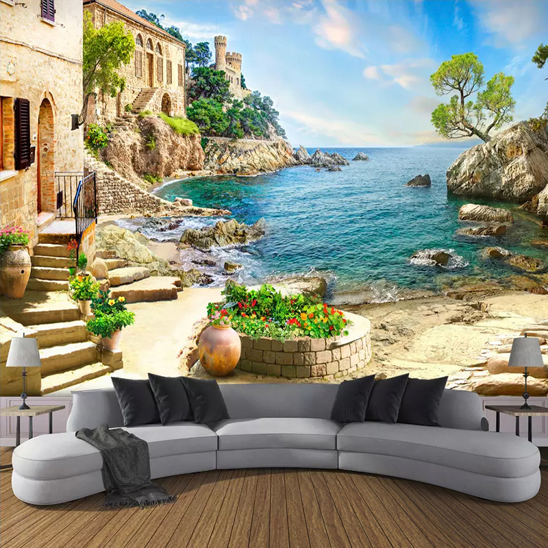 Custom 3D Photo Wallpaper Castle Garden Sea View Wall Painting Living Room Sofa Bedroom Wall Decoration Mural Papel De Parede 3D