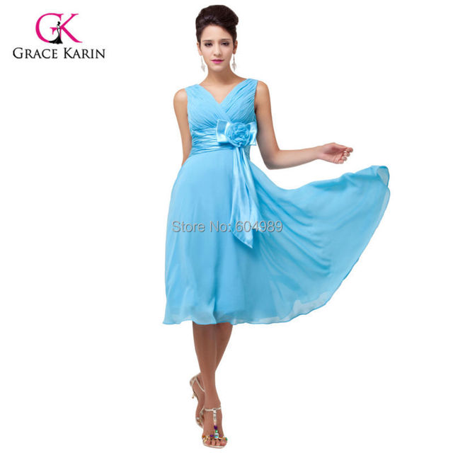 Fast Shipping Grace Karin Women Yellow Purple Sky Blue Evening Dress Short  Chiffon 6015 3bf87d4ddb98