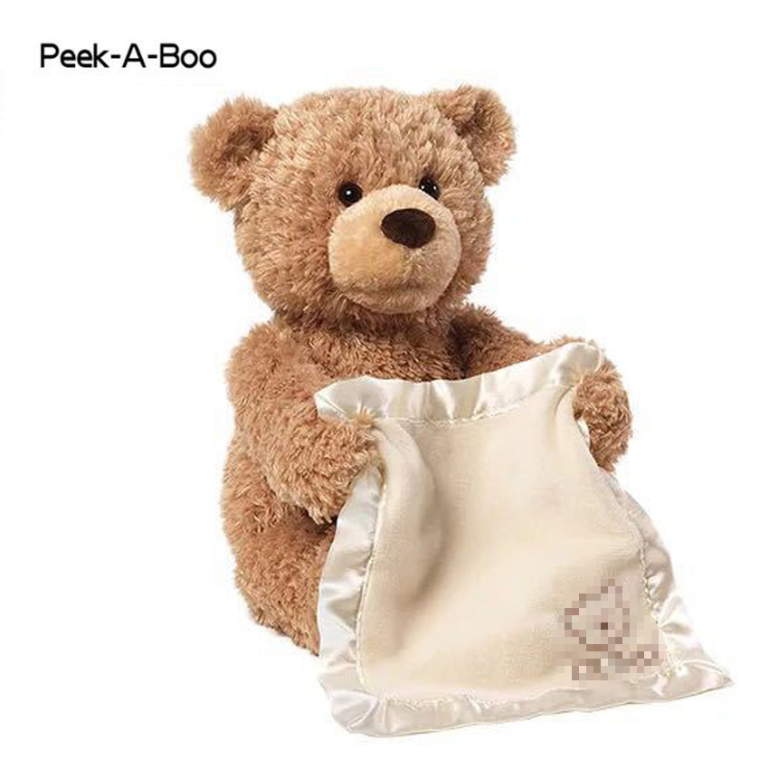Peek A Boo Teddy Bear Stuffed Animals & Plush Doll Music dog Educational Anti-stress Electric Toy For Baby plush peek a boo dog toy peek a boo singing baby music toys ears flaping move interactive electronic pet doll children kids gift