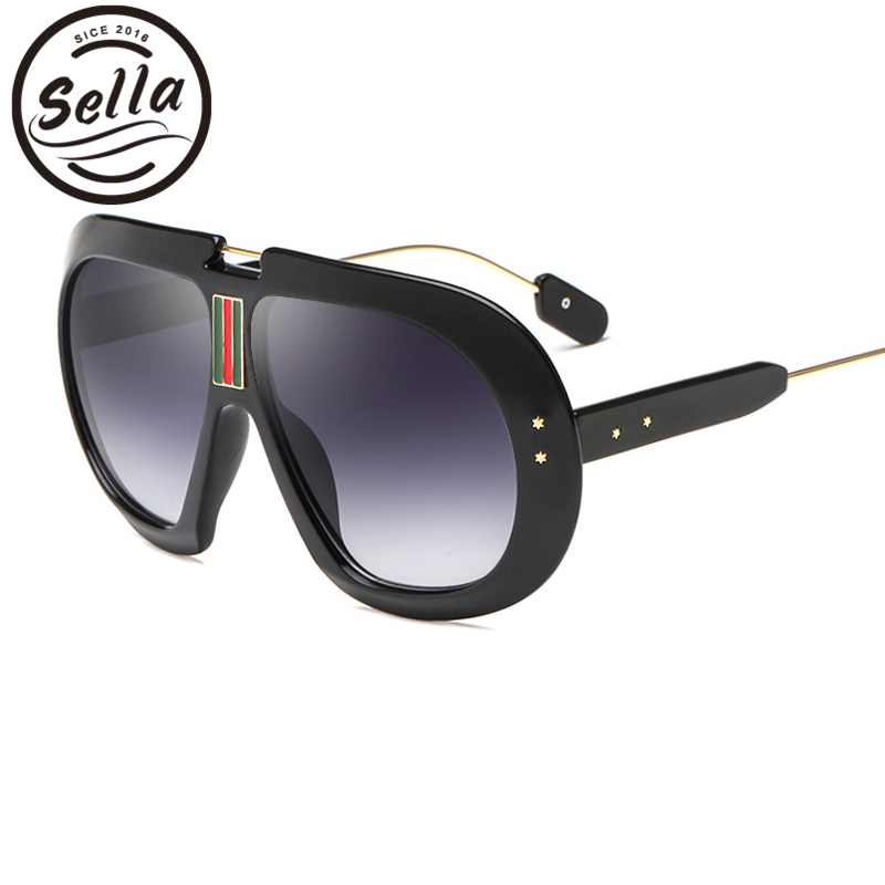 Sella New Fashion Women Men Oversized Pilot Sunglasses Retro Round Thick Frame Star Decoration Punk Styles Sun Glasses Eyewear