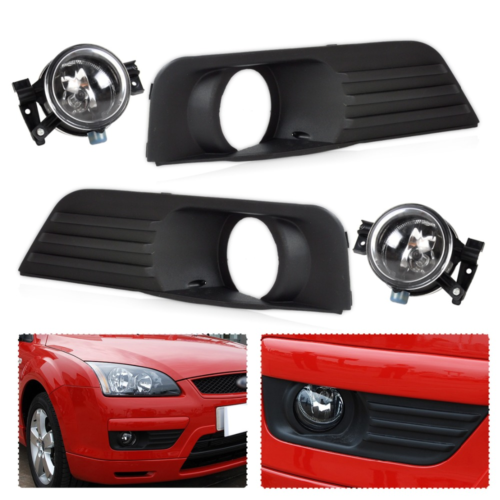 DWCX New Black Front Lower Left Right Bumper Fog Light Grille Cover + Fog Light Lamp Kit Set Fit for 2005 2006 2007 Ford Focus 1set front chrome housing clear lens driving bumper fog light lamp grille cover switch line kit for 2007 2009 toyota camry