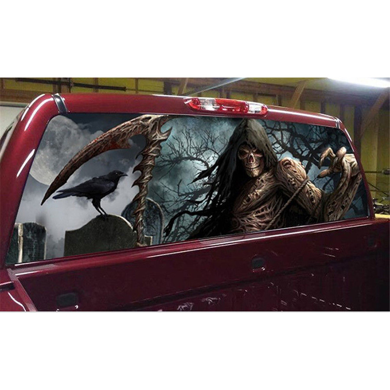 Girm Reaper Cemetery Rear Window Graphic Tint Decal Sticker For Truck Suv Jeep