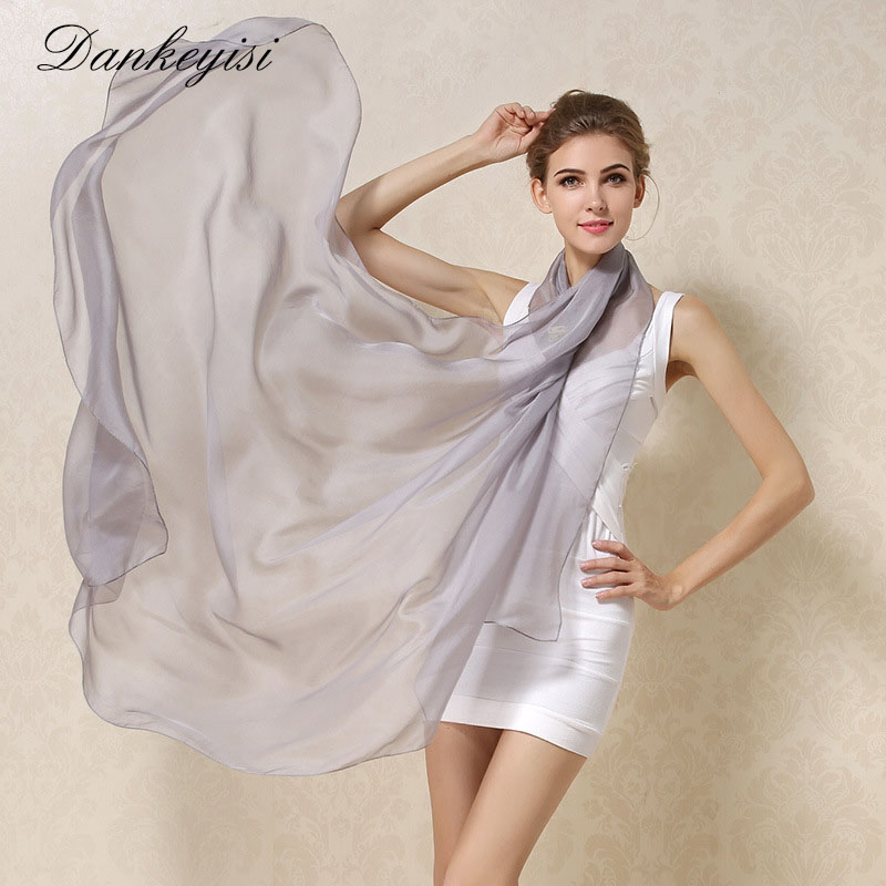 DANKEYISI Women 100% Natural Silk Scarf Sjal Kvinna Rent Silk Scarves Wraps Solid Color Plus Storlek Sjalar Long Beach Cover-ups