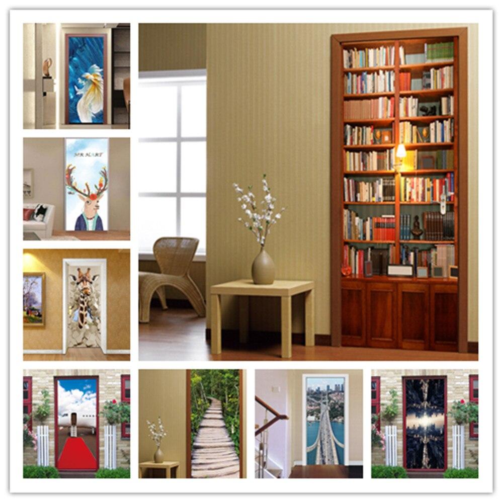 3D Retro Bookshelf Library Door Stickers Self-adhesive PVC Waterproof Decal Wallpaper For Bedroom Living Room Home Decor Posters
