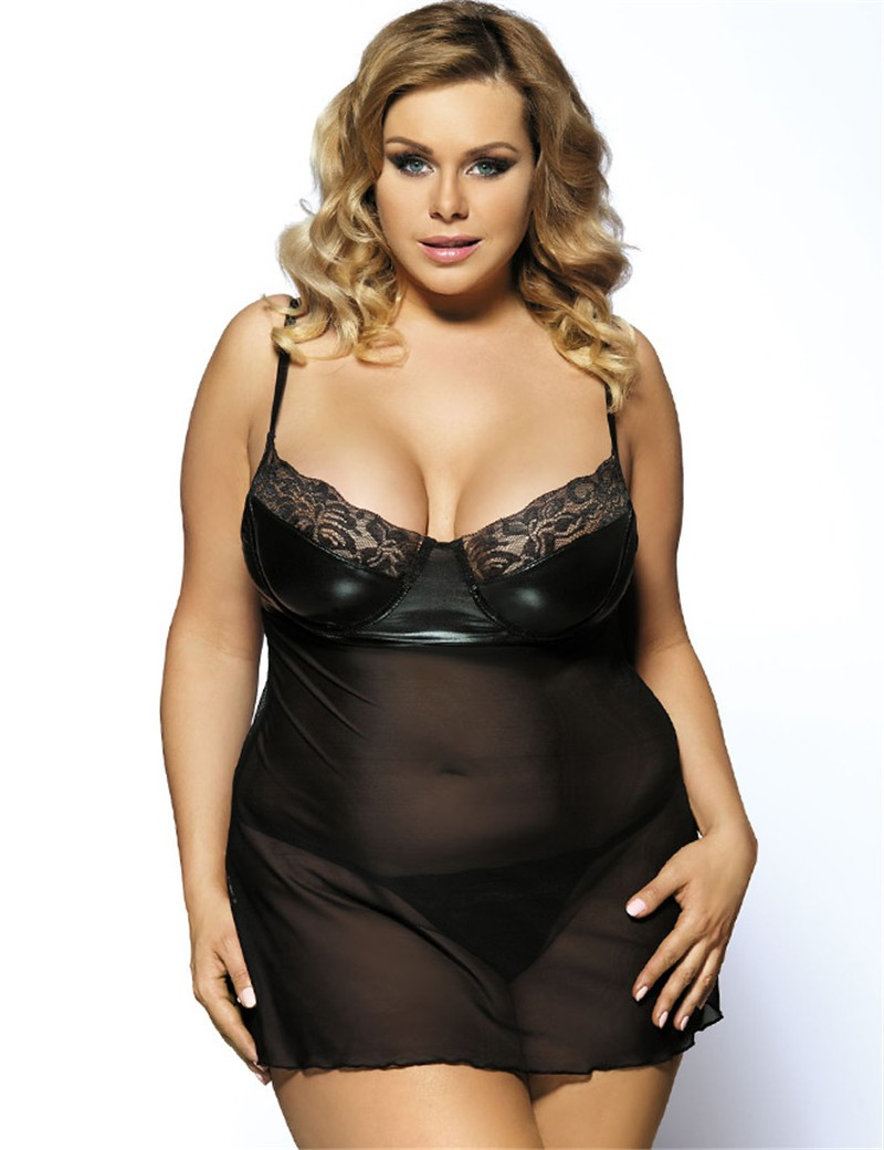 Comeondear Top Selling Sexy Lingerie RJ8009 Hot See Through Plus Size Sexy Dessous Faux Leather 2017 New Fashion Women Nightgown