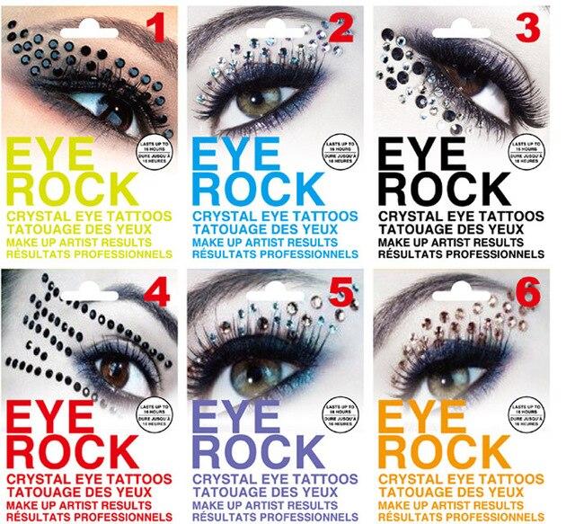 Free DHL Wholesale 500 Pairs Novelty Temporary Eye Rock Tattoo Sticker/Eyelip Crystal Tattoos Professional Makeup