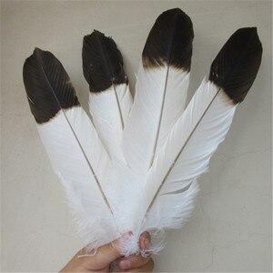 Image 4 - ขายส่ง 12 ชิ้น (1 ชุด) rare สีขาว eagle หางยาว 40 45 ซม./16 18 นิ้ว DIY eagle feather เครื่องประดับตกแต่ง