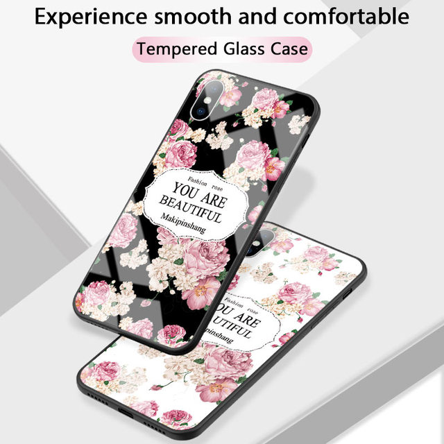 Luxury Tempered Glass Case For iPhone Rose Cherry Flower Protective Back Cover 2