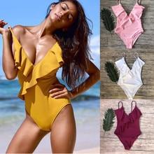 2019 IFLYING Women One Piece Swimsuit Bikinis Padded Yellow Pink Ruffle Solid V swimwear Trajes de bano Maillots bain