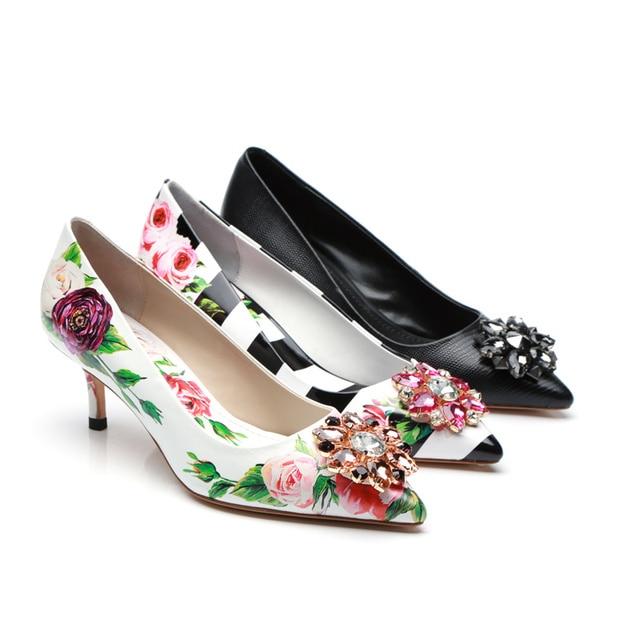 Pointed Toe Women Pumps Funky Heels Women Shoes Glitter Crystal Embellished  Kitten Heels Flower Pattern Brand 5c64c76de14c