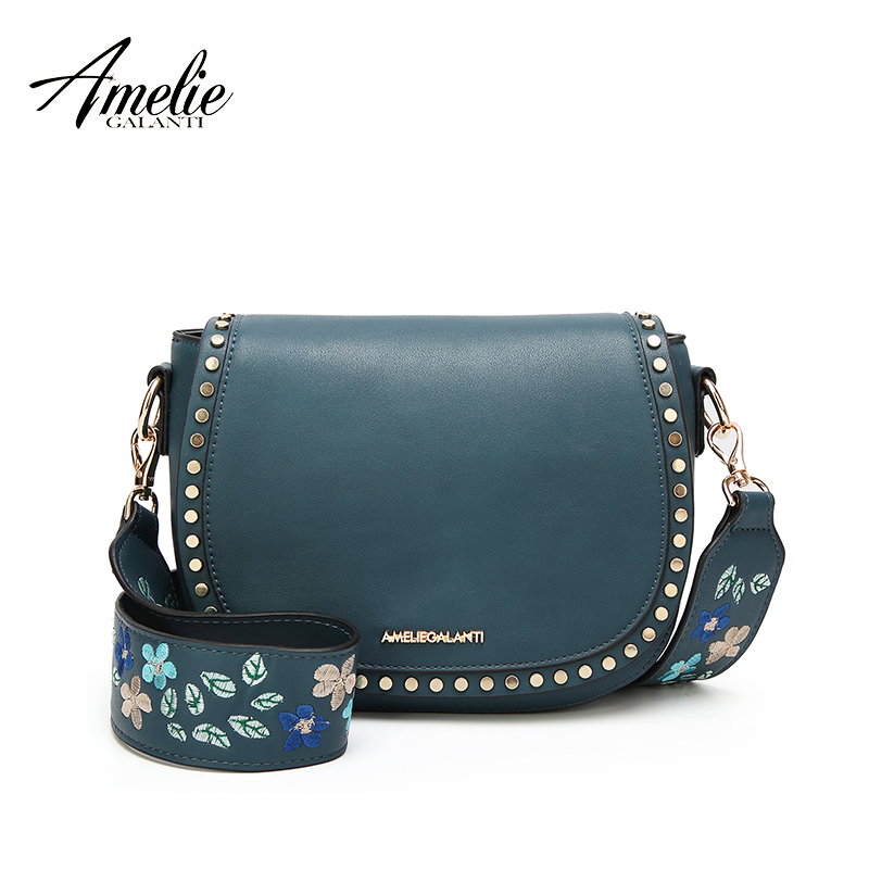AMELIE GALANTI Shoulder Crossbody Bags for Women Saddle Purse Embroidered Bag with Rivet long straps