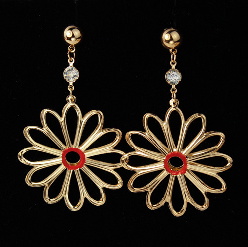Kpop Gold Color Drop Earrings Beautiful Flower Basketball Wives Dangle Jewelry For Women Whole E612 In From