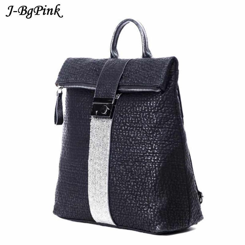 fashion simple anti-theft backpack New High quality women diamond leather  backpacks large size travel 7f58371e79ff6