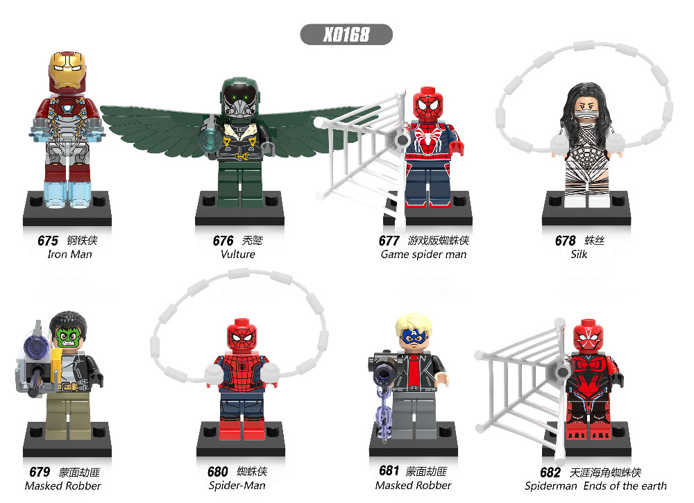 Single Sale Super Heroes Iron Man Vulture Game Spider Man Masked Robber Silk Building Blocks Bricks Children Gift Toys X0168 super heroes single sale the villain of yellow lantern skeletor heman he man he man building blocks toys for children gift kf921