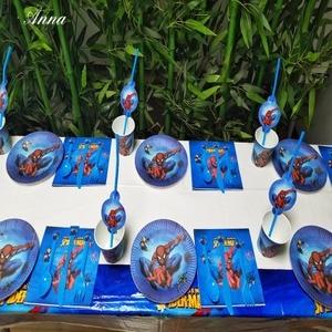 Image 2 - 82 Chiếc Spiderman Sinh Nhật Tiếp Liệu Dùng Một Lần Đĩa/Cốc/Khăn Trải Bàn/Dĩa/Thìa Khăn Tắm Cho Bé Trang Trí trẻ Em Ủng Hộ