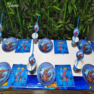 Image 2 - 82pcs Spiderman Birthday Party Supplies Disposable Plate/Cup/Tablecloth/Fork/spoon napkin Baby Shower Decoration kids Favors