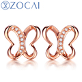 ZOCAI 2014 New Arrival butterfly 0.03 ct natural genuine diamond 18K rose gold earrings fine jewelry E00779