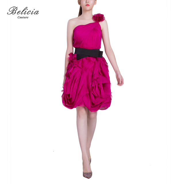 8a8069b7c65 Belicia Couture Women Short Dresses One Shoulder With Flower Elegant  Cocktail Dresses Knee Length Bow Belt