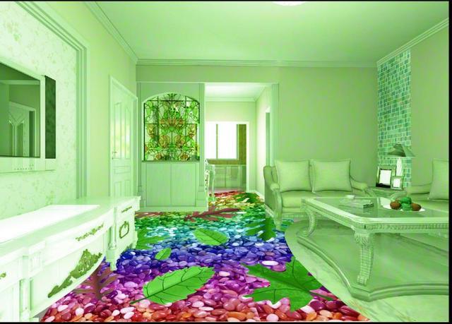 Piso 3d Piedras De Colores Wallpaper Personalizado Murales