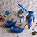Wedopus Настроить Довольно Синий Высокий Каблук Летние Сандалии для Свадьбы с Лентой