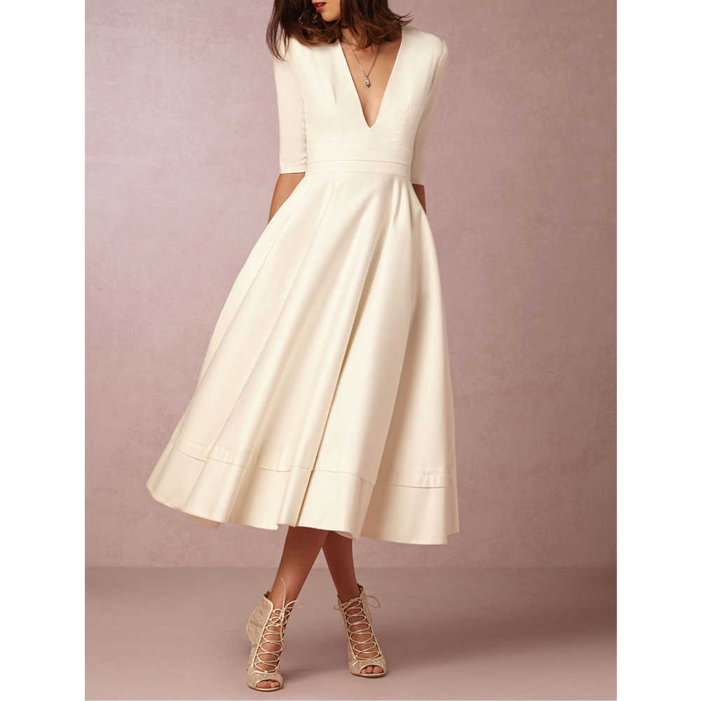 Winter Fall Dress Women New 2019 Casual Plus Size Elegant Ball Gown Party Dresses Female Sexy V Neck Long White Vintage Dress