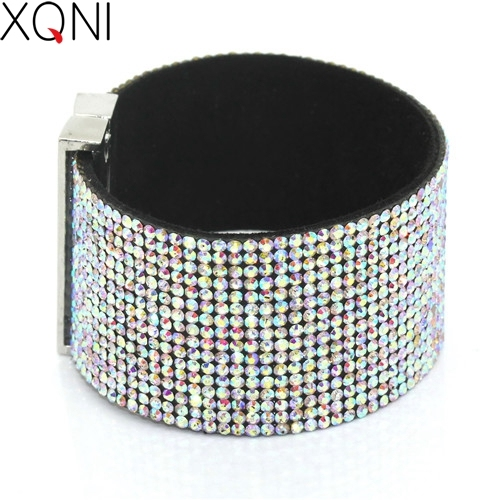 XQNI Brand Classic Crystal Female Leather Bracelet Bangles 19CM High Quality Rhi