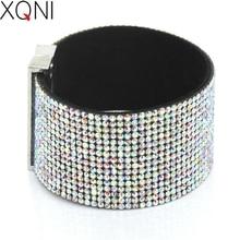 XQNI Brand Classic Crystal Female Leather Bracelet Bangles 19CM High Quality Rhinestone Wrap Charm Women Bracelet Jewelry