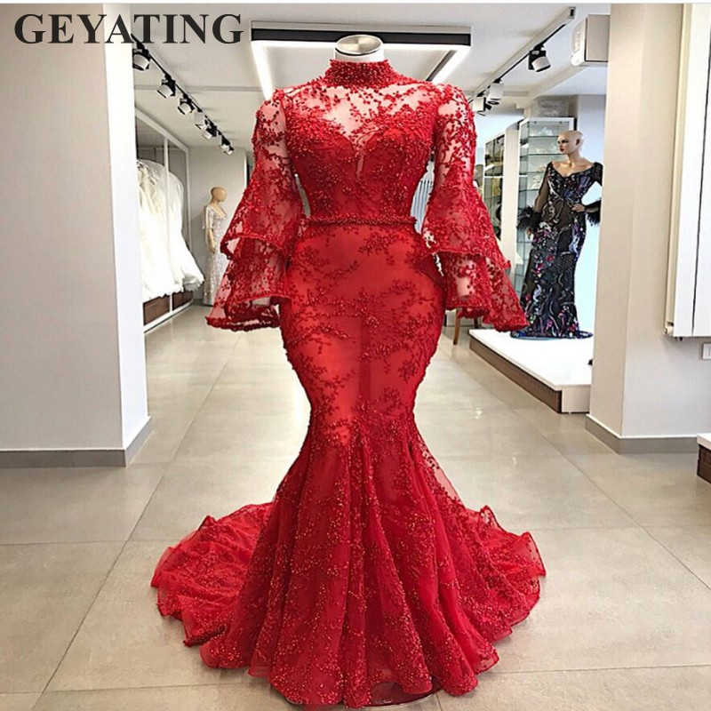 2019 Elegant Muslim   Evening     Dresses   Long Sleeves High Neck Bead Arabic Red Lace Mermaid Prom   Dress   Dubai Women Formal Party Gown