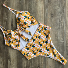 2019 One Piece Swimsuit Women Bathing Suit Halter Swimwear Bodysuit Floral Piece Swimwear Beach Swimming Suit for Women Monokini