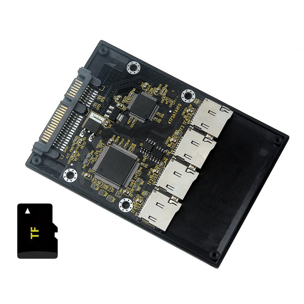 """Free Shipping New 4 Micro SD TF Card To 22pin SATA Adapter Card 2.5"""" Hdd Enclosure With RAID 0 Multi TF Cards To SATA"""