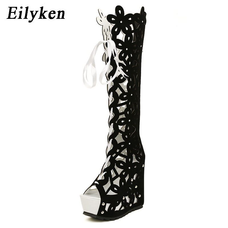 huge selection of 87071 5e473 Eilyken New Boots Shoes Woman Sexy Ultra High Heels Female Boots Sandals  Platform Wedges Open Toe Knee-High Princess Shoes