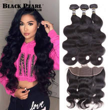Black Pearl Body Wave Bundles With Frontal Closure Brazilian Hair Human Hair Bundles With Frontal Non Remy 13X4 Lace Frontal(China)