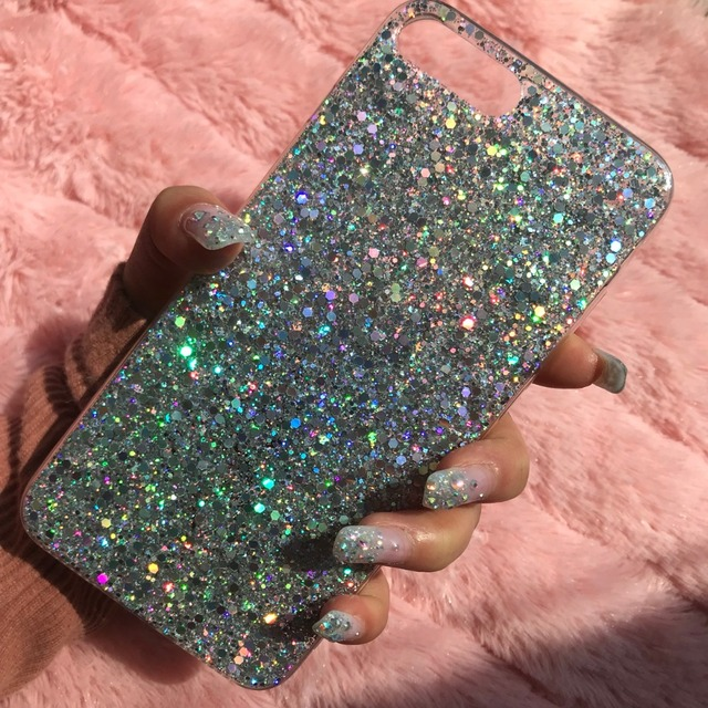 MaxGear Phone Case for iPhone 6 6S Case Silicon Bling Glitter Crystal Sequins Soft TPU Cover Fundas for iPhone 5 5S 7 8 Plus X 5