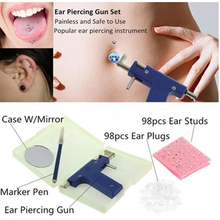 Professional Piercing Gun Tools Kit Ear Stud Earring Nose Navel Body Set No Pain Safe Sterile
