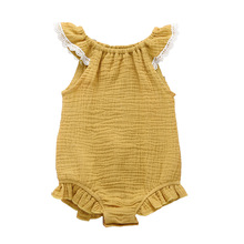 Newborn Baby Girl Lace Ruffled Solid Color Linen Cotton Sleeveless Backless Romper Jumpsuit Outfit Sunsuit
