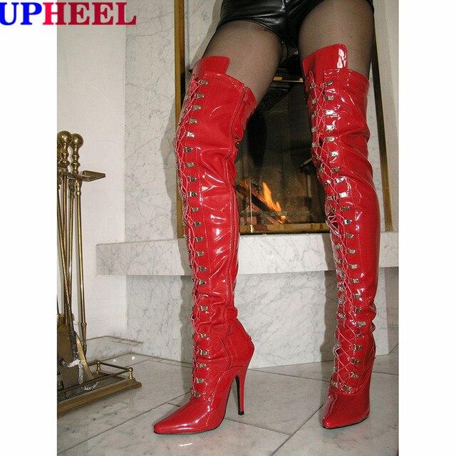 Patent Laarzen Lace Hak Rode Stilleto Hoge Upheel Extreme Up fygb67